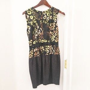 RachelRoy Black/green animal print dress Sz: 4